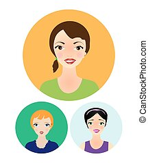 young women - drawn faces of smiling young women