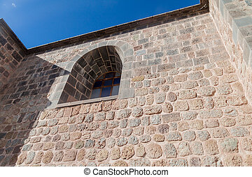 Wall of convent Santo Domingo in Cuzco - Detail of a wall of...