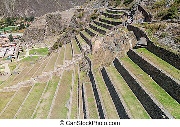 Incas agricultural terraces in Ollantaytambo, Peru