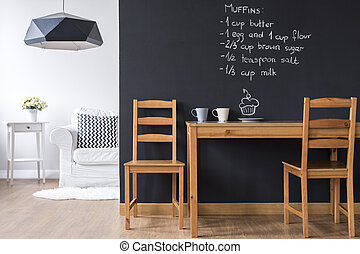Small dining room with blackboard wall - Small minimalist...