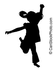 Silhouette of girl jumping up in the air