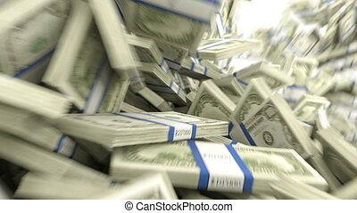 US dollar bundles flow with slow mo - Y-shaped US dollar...