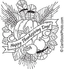Thanksgiving Day greeting card with spikes, feathers, chestnuts, vegetables and fruits