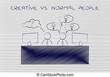 worker with plenty of ideas and doubtful one, creative vs...