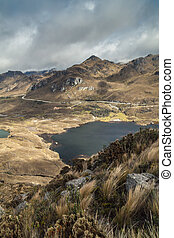 National Park Cajas - Aerial view of a landscape in National...