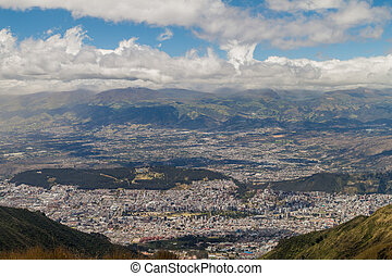 Quito, capital of Ecuador, as viewed from lookout Cruz Loma