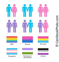 LGBT flags and symbols set - Set of couples of different...