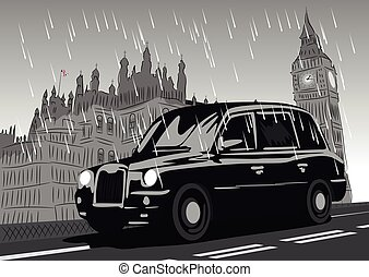 Black taxi cab moving on Westminster Bridge in the rain...