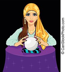 Young fortune teller woman reading future on magical crystal...