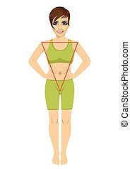 Woman with a triangular body shape