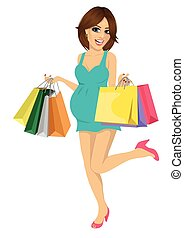 Young pregnant woman having fun with shopping bags
