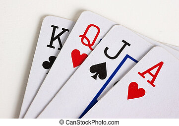 Winning hand - King queen jack ace of clubs hearts spades...
