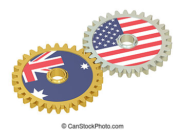 USA and Australia flags on a gears, 3D rendering isolated on...