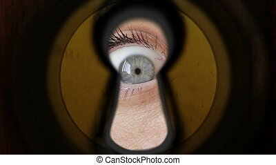 woman eye watching through keyhole - Young woman eye...