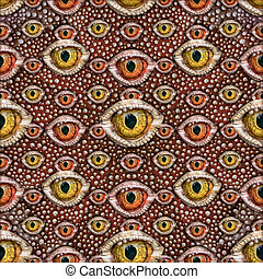 Reptile Eyes Collage Seamless Patern - Conversational...