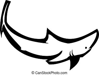 Shark Swimming Alone - A woodcut style image of a shark...