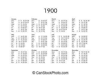 Calendar of year 1900 - Vintage calendar of year 1900 with...