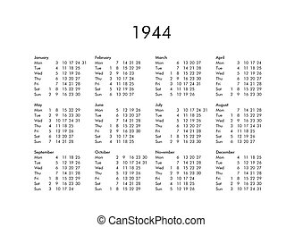 Calendar of year 1944 - Vintage calendar of year 1944 with...