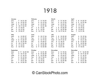 Calendar of year 1918 - Vintage calendar of year 1918 with...