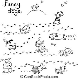 Funny cartoon dogs in the snow. - Hand drawing isolated...