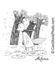 Sad fox walking in the rain. - Hand drawing isolated objects...