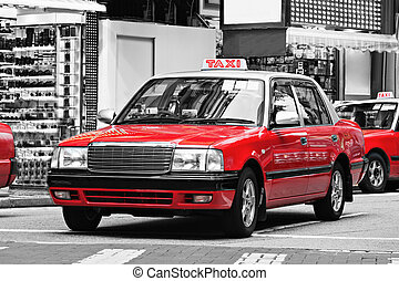 Taxis, Hong Kong - Taxis on the street in Hong Kong. Over...