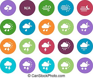 Weather circle icons on white background. Additional part....