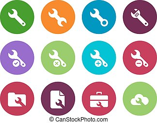 Repair Wrench circle icons on white background - Repair...