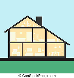 House inside. Detailed modern house interior in cut. Flat...