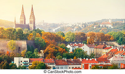 Prague sunset landscape from view to vysehrad church of st...