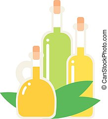 Oil bottle vector illustration. - Small bottle of olive oil...