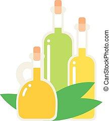 Oil bottle vector illustration. - Small bottle of olive oil...