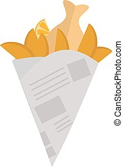 Fried potatoes vector illustration - Fried potatoes fries in...