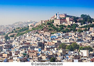 View of Jodhpur, the Blue City, from Mehrangarh Fort,...