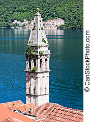 Perast - Saint Nikola Church in Perast, Kotor harbor,...
