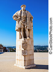 Monument of John III near Coimbra University, Portugal. He...