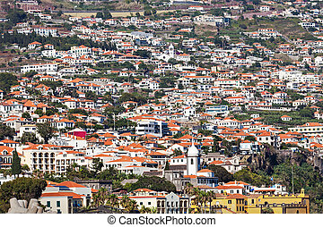Funchal aerial view from Barcelos viewpoint, Madeira island,...