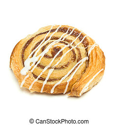 Cinnamon Danish Pastry swirl isolated against white...