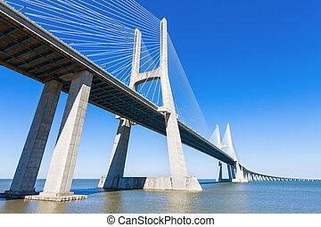 Vasco da Gama Bridge - The Vasco da Gama Bridge in Lisbon,...