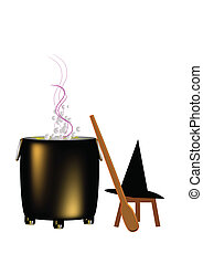 witchs lair - boiling cauldron with witches hat and paddle...