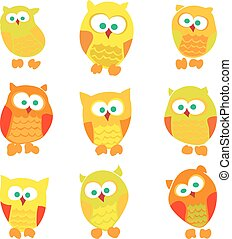 Set of cute cartoon owls isolated on white background.