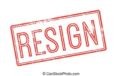 Resign red rubber stamp on white. Print, impress, overprint.