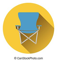 Icon of Fishing folding chair. Flat design. Vector...