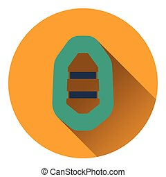 Icon of rubber boat Flat design Vector illustration