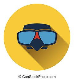 Icon of scuba mask . Flat design. Vector illustration.