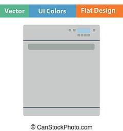 Kitchen dishwasher machine icon Flat design Vector...