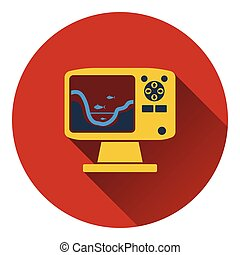 Icon of echo sounder  . Flat design. Vector illustration.