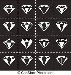 Vector Diamond icon set on black background