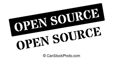 Open Source black rubber stamp on white Print, impress,...