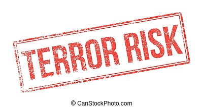 Terror risk red rubber stamp on white. Print, impress,...